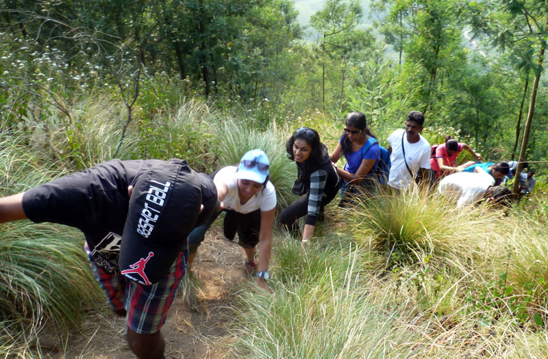 Helping hand during trek at Munnar Camp