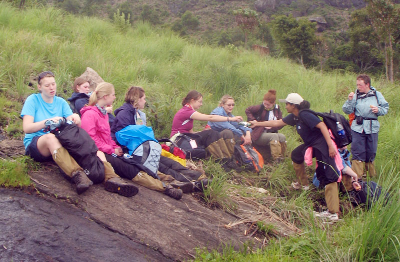 Taking a break during trek at Munnar camp